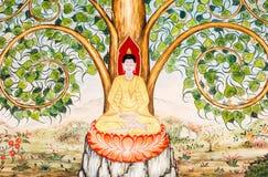 Budha mural wat phrabahtseeroy, chiangmai Thailand Stock Image