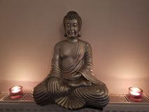 Budha rest yoga background holi candellicht. A nice picture of a budha statue whit candel licht royalty free stock image