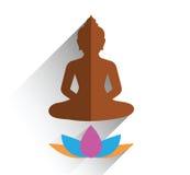 Budha sitting on lotus flat design Stock Photo