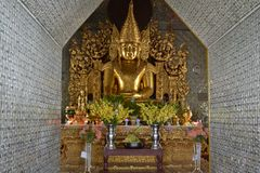Budha staue in Burmese pagoda Stock Images