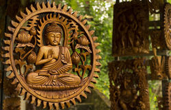 Budha in Wood Carved Royalty Free Stock Photography