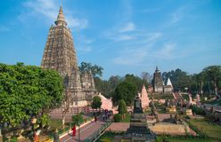 Budhagaya stupa是佛教地标的第一在印度,地方菩萨被获得的启示, Mahabodhi寺庙, Gaya, Indi 免版税库存图片