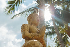 Budhda on the beach background with palm tree. Royalty Free Stock Photos