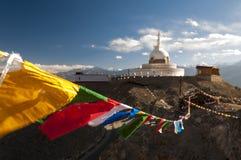 Budhist Shanti Stupa в Leh, Ladakh, Индии Стоковые Фотографии RF