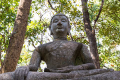 Budhist-Statue, die unter dem Schatten des Baums sitzt lizenzfreie stockfotografie