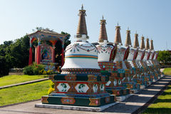 Budhist Stupas and Buda Khadro Ling Temple royalty free stock photo