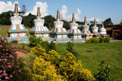 Budhist Stupas Khadro Ling Temple Royalty Free Stock Images