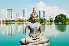 Budhist tempel i Colombo Royaltyfria Bilder