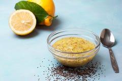 Budino di chia della cagliata di limone Fotografia Stock