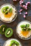 Budino di riso con il kiwi, l'inceppamento arancio e la cannella Immagini Stock Libere da Diritti
