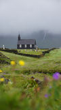 Budir church in the mist. Church of Budir in the mist on the Sneafellsnes peninsula royalty free stock images