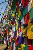 Budismo, bandeiras da oração Fotografia de Stock