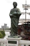 Budius主教铜雕塑在街市斯科普里,马其顿 免版税库存图片