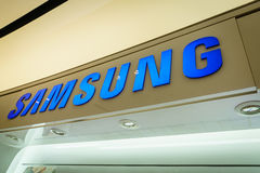budka logo Samsung zdjęcie stock