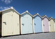 Budleigh Salterton Beach Huts. Beach huts at Budleigh Salterton, Devon, UK Stock Photo