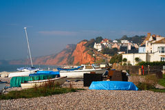 Budleigh Salterton in Devon. Boats on the beach in Budleigh Salterton, Devon, UK royalty free stock image