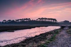 Budleigh Salterton estuary at sunrise stock photos