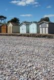 Budleigh Salterton plaży budy Zdjęcia Stock