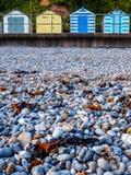 Budleigh-Strandhütten und -felsen Stockfotografie
