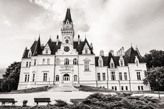 Budmerice castle in Slovak republic, architectural theme, black Royalty Free Stock Photography
