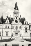 Budmerice castle in Slovak republic, architectural theme, colorless. Beautiful Budmerice castle in Slovak republic. Architectural theme. Cultural heritage stock images