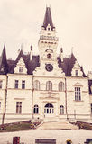 Budmerice castle in Slovak republic, old filter. Beautiful Budmerice castle in Slovak republic. Architectural theme. Cultural heritage. Vertical composition stock images