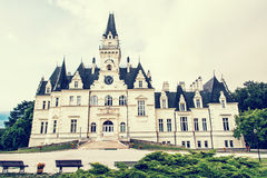 Budmerice castle in Slovak republic, yellow photo filter Stock Photo
