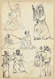 Budo collection. Budo - Japanese martial philosophy. /// Collection of vector sketches in a simple contours Royalty Free Stock Images