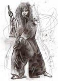 Budo warrior. Budo, Japanese martial art. A hand drawn illustration of budo warrior Royalty Free Stock Photography