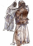 Budo warriors. Budo, Japanese martial art. A hand drawn illustration of two budo warriors fighting during a match Stock Images