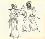 Budo warriors. Budo, Japanese martial art. A hand drawn illustration of two budo warriors fighting during a match Stock Photo