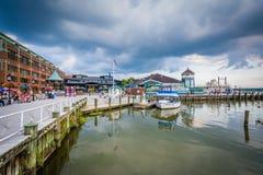 Budować i doki na Potomac Rzecznym nabrzeżu w Alexandri, obraz royalty free