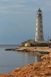 Budować latarnię morską przy przylądkiem Tarhankut. Obrazy Stock