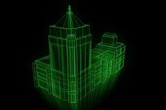 Budować w Wireframe holograma stylu Ładny 3D rendering Zdjęcia Stock