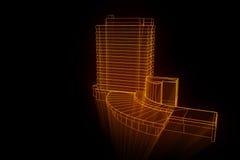 Budować w Wireframe holograma stylu Ładny 3D rendering Fotografia Royalty Free