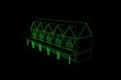 Budować w Wireframe holograma stylu Ładny 3D rendering Fotografia Stock