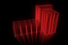 Budować w Wireframe holograma stylu Ładny 3D rendering Obraz Royalty Free