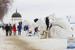Budowa śnieżne rzeźby przy Międzynarodowy zima festiwalu ` Hyperborea ` Obraz Stock