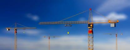 Budowa żurawie na niebieskiego nieba tle ilustracja 3 d ilustracji