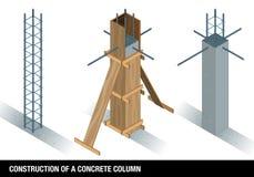 BUDOWA BETONOWA kolumna Wykres pokazuje kolumnę beton przed i po drewnianym formwork na białym tle ilustracji