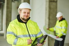 Budowa budowniczego pracownik przy miejscem Zdjęcia Royalty Free