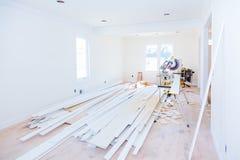 Budowa budynku przemysłu nowej domowej budowy drywall wewnętrzna taśma Budynek budowy tynku gipsowe ściany Obraz Royalty Free
