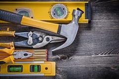 Budowa cążków cyny równi drewniani metrowi snips Zdjęcie Royalty Free