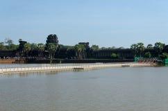 Budowa chwilowy most Angkor Wat Obrazy Stock