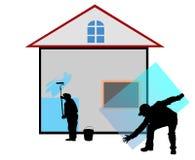 budowa dom naprawiał pracowników Zdjęcia Royalty Free