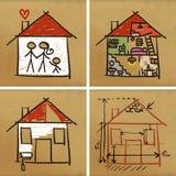 budowa domy cztery ilustracja wektor