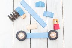 Budować drewniane blok zabawki Rozwija zabawki Obrazy Royalty Free