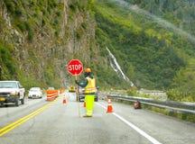 Budowa Drogi pracownik Alaska Obraz Royalty Free