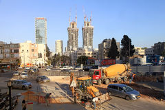 Budowa drogi w Tel Aviv, Izrael Fotografia Stock