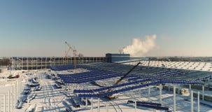 Budowa fabryka nowożytny magazyn lub, nowożytna przemysłowa powierzchowność, panoramiczny widok, Nowożytny storehouse zdjęcie wideo